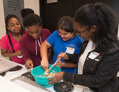 Students had the opportunity to work in SIUE's nutrition lab as they learned about the work of registered dietitians.