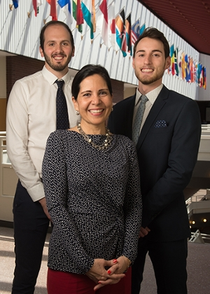 (L-R) SIUE May 2018 graduates Gabriele Fancelli and Pietro Beimer, of Italy, stand with Silvia Torres-Bowman, director of the International Trade Center at SIUE.