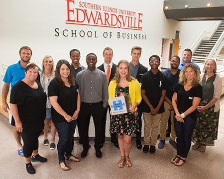 SIUE Summer Entrepreneurship Academy instructors, pitch competition judges and participants posed in the School of Business.
