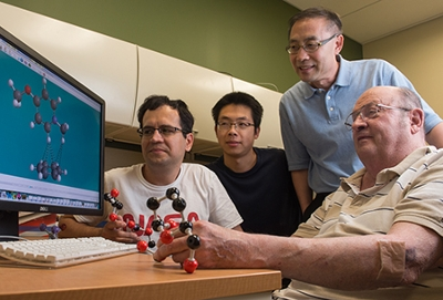 Conducting computational analysis are (L-R) Nader Sakhaee, Mingxuan Bai, Dr. Yun Lu and Dr. James Eilers.