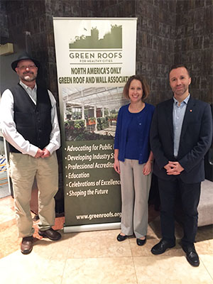 (L-R) SIUE's Bill Retzlaff, Susan Morgan and Serdar Celik attended the CitiesAlive 16th Annual Green Infrastructure Conference where SIUE was announced as a Living Architecture Regional Center of Excellence.