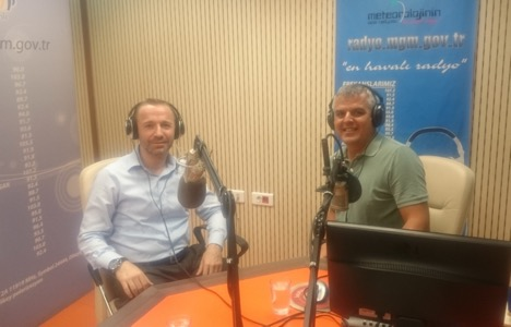 "SIUE's Serdar Celik, PhD, (left) appeared on the nationally broadcast show ""Green Radio,"" hosted by Dr. Levent Yalcin in Turkey."