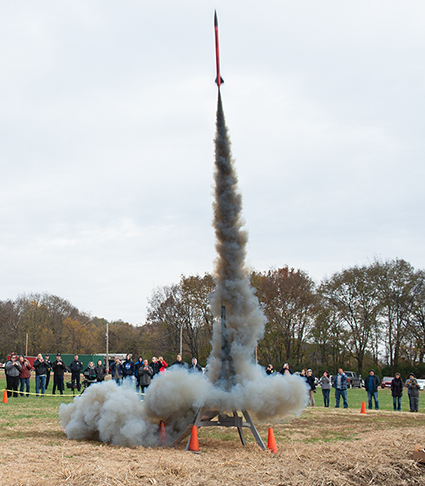 The Cougar Rockets successfully launch a high-powered rocket on SIUE's campus.