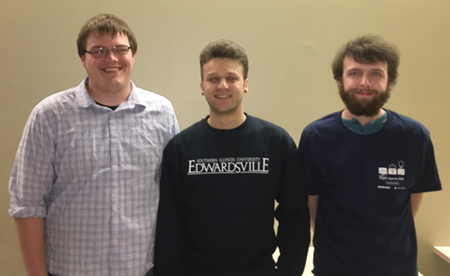 Winning the local ACM International Collegiate Programming Competition were SIUE senior computer science majors (L-R) Zach Anderson, Dane Johnson and John Bentley.