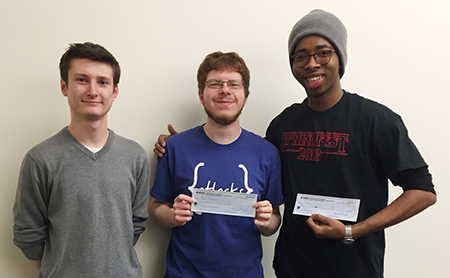 SIUE students achieved first and third place at the 2018 IEEE Saint Louis Section Black Box Competition. Winners included engineering students (L-R) Shawn Gilles, Joel Rahlfs and Jerome Ukah.