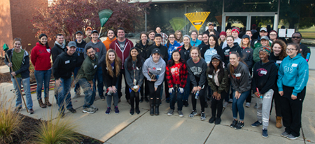 SIUE School of Pharmacy students and the Pre Pharmacy Association gathered before spreading throughout the community to clean up the yards of senior citizens.