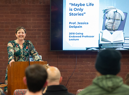 Jessica DeSpain, PhD, presents the 2018 Going Lecture in the Friends' Corner of Lovejoy Library.