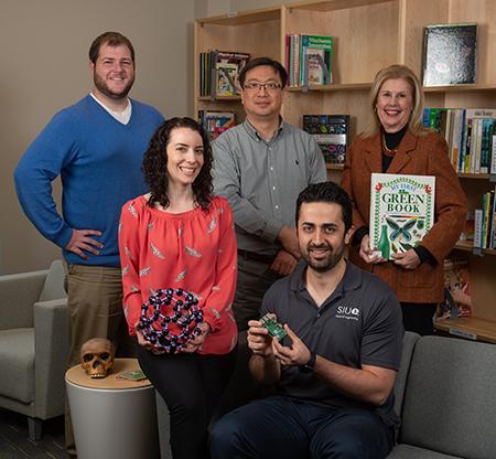 Involved in the SIUE STEM Community Impact Fellowship program are (back L-R) Matt Johnson, Kyong Sup Yoon, PhD, Caroline Pryor, EdD, (front L-R) Carol Colaninno, PhD, Nima Lotfi, PhD.