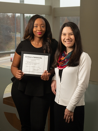SIUE senior Tiffany Williams (left) was nominated for the ISOPHE Student Scholarship by her faculty mentor, Alice Ma, PhD.