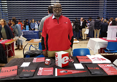 SIUE Alumni Recruitment Ambassador Michael Yancey represented the University at the New Castle County College Fair in Newark, Del.