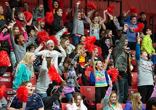 Metro-East students cheered wildly during the SIUE Women's Basketball game on Education Day.