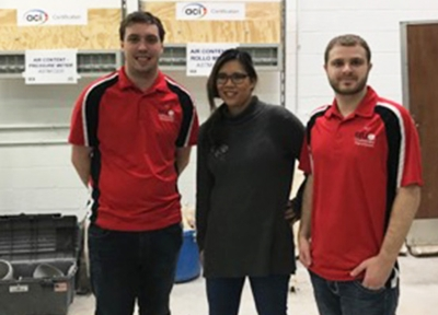 Luke Snell ACI SIUE Student Chapter Vice President David Rall (far left) and President Dalton Brookshire (far right) stand with ACI Illinois Chapter President Joni Jones.