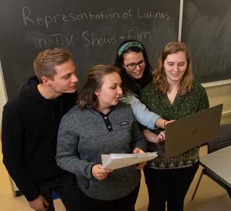 Practicing for their presentations ahead of the Spanish Saint Louis Symposium are (L-R) Ethan Hill, Miranda Foley, Jennifer Gaytan and Rachel Liefer.