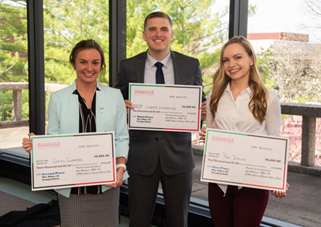 "Winners of the SIUE School of Business' 2019 ""TheOther40"" competition were (L-R) Sydney Daniel, Tristan Warner and Margaret Doolin."