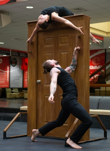 "Senior dance majors Kristen Ahring and Btian Lynch perform ""Knockturn"" during the Undergraduate Scholars Showcase at SIUE."