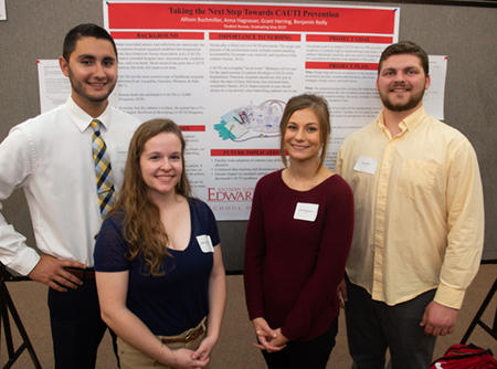 A team of nursing students researched how to reduce the number of hospital-acquired catheter-associated urinary tract infections in patients as their Senior Assignment (L-R) Grant Herring, Allison Buchmiller, Anna Hagnauer and Ben Reilly.