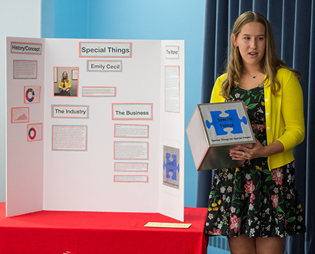 """Edwardsville's Emily Cecil pitched her business plan for """"Special Things"""" to a panel of experts during SIUE's Summer Entrepreneurship Academy."""
