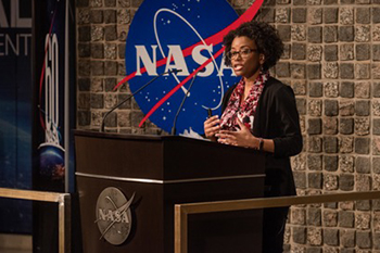 SIUE alumna Shanique Brown, PhD, presents as part of the NASA/Marshall Space Flight Center's 2019 Black History Month program.