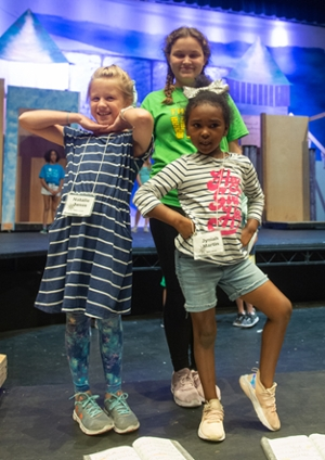 (L-R) Natalie Jones, Corrine Jones and Jyniah Martin practice staging a scene from Frozen, Jr.