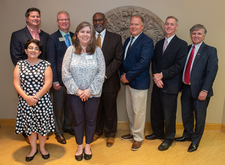 Panelists and special guests included (L-R) (front) Jo Ann DiMaggio May and Connie Frey Spurlock, (back) Eric Gowin, Tim Sullivan, Morris Taylor, Brett Stawar, Dennis Wilmsmeyer, and SIUE Chancellor Randy Pembrook.