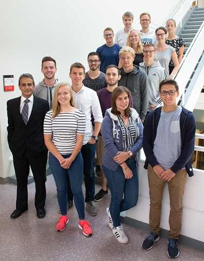 The SIUE School of Business is hosting 15 German students from Hochschule Hannover for its annual Summer Financial Institute. Alongside the participants (front left) is SIUE's Dr. Rakesh Bharati.