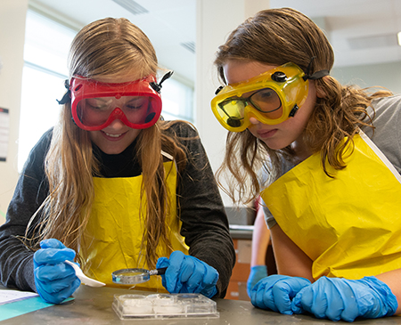 (L-R) Kate Piche and Cate Dorsey, both of Edwardsville, test mystery powders during Odyssey Science Camp.