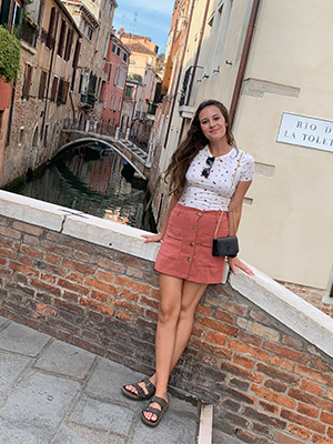 SIUE sophomore Jessie Charpentier during a study abroad experience in Italy.