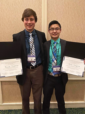 (L-R) SIUE School of Pharmacy third-year students Jacob Troeckler and Alex Hagans won the Student National Pharmaceutical Association's (SNPhA) Regional Clinical Skills Competition held Feb. 14-16 in Lexington, KY.