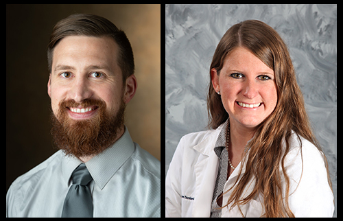 SIUE School of Pharmacy Clinical Assistant Professor Jared Sheley, PharmD, and alumna Dawn Dankenbring, Pharmacy Residency Program Director at HSHS St. Elizabeth's Hospital in O'Fallon, Ill.