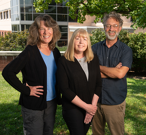 SIUE's Environmental Health Investigators research team includes co-principal investigators Georgia Bracey, PhD, Sharon Locke, PhD, and Ben Greenfield. (photo taken fall 2019)