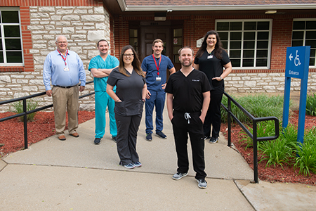 Among the core team of dentists offering emergency dental care at the SIU School of Dental Medicine Clinic are (L-R) Dr. Robert Blackwell, Dr. Lucas Winebaugh, Dr. Katie Hanser, Dr. Taylor Reeves, Dr. James Cahill and Dr. Sable Muntean.