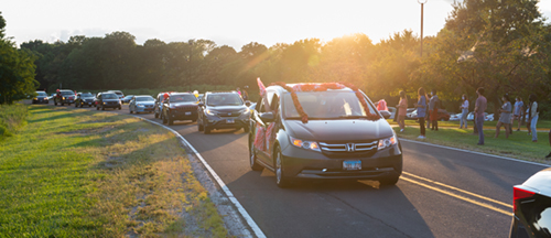 Nearly 35 vehicles filled with SIUE administrators, faculty, staff, students and community members participated in SIUE's Reverse Parade, which offered a safe and creative way to welcome students to campus.