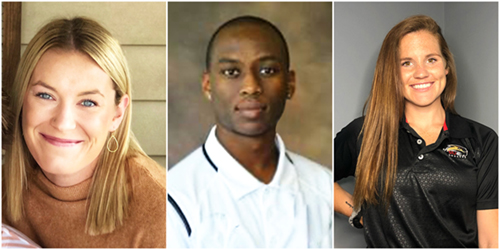 SIUE Exercise and Sport Psychology Graduate Students Savana Robinson, Harben Branco Filho, and Courtney Kendrick were among those serving as mental performance coaches for the St. Louis Scott Gallagher Soccer Club.