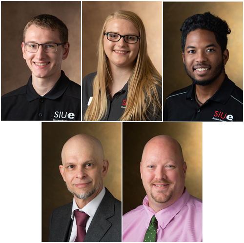 (Top L-R) SIUE Cougar Connectors' Colin Boysen, Alexia Burnett, Marcus Kwasa (bottom L-R) and Honors Program Director Eric Ruckh, PhD, and Assistant Director Ian Toberman.
