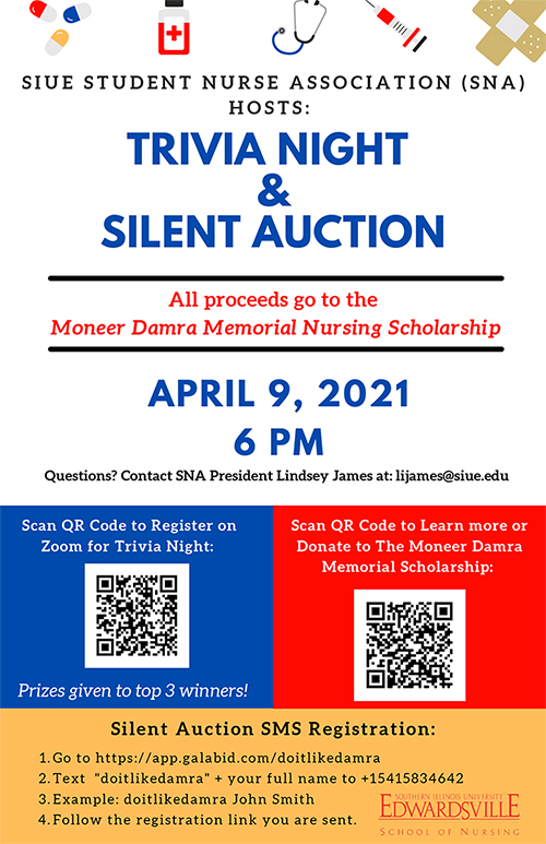 SNA Trivia Night and Silent Auction flyer.