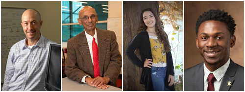 The SIUE School of Engineering Honors Day program featured presentations from 2020 Outstanding Researcher Jon Klingensmith, PhD, professor emeritus and donor Raghu Bollini, PhD, and students MacKenzie Randolph and Jeancy Muleba.