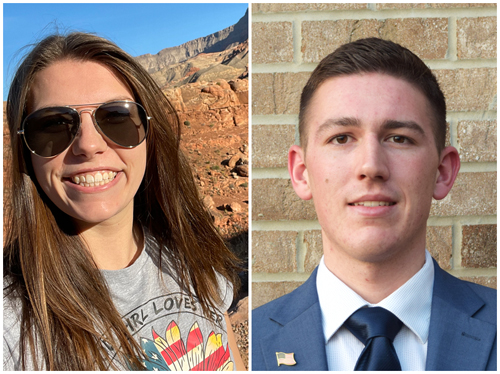 (L-R) Currently deployed SIUE students Audrey Stark, a sophomore pursuing a bachelor's in political science, and Lucas Maue, a junior majoring in business finance.