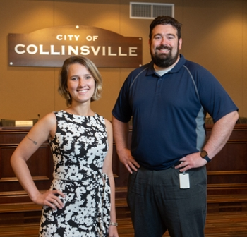 (L-R) SIUE graduate student and sustainability intern with the City of Collinsville Waleska Valle and Collinsville Deputy City Manager Derek Jackson.
