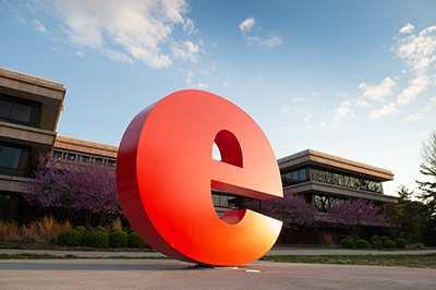 """The """"e"""" sculpture on SIUE's campus."""