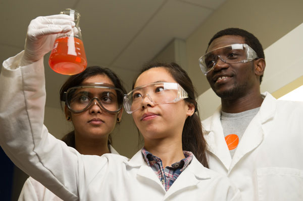 Graduate students in a research lab