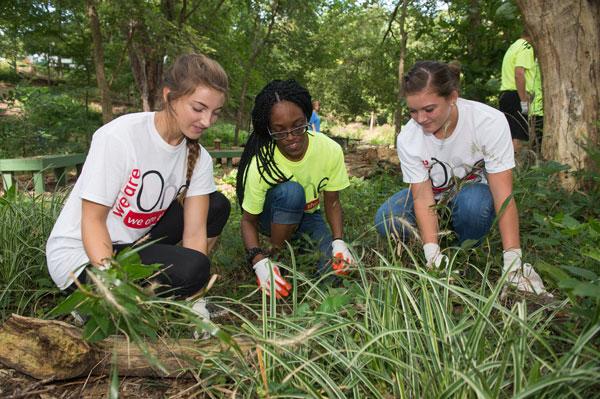 three female students working in campus garden