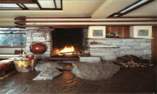 The fireplace is another famous element of Fallingwater. A boulder was ...